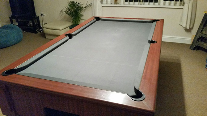Grey pool table cloth recover