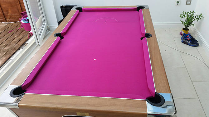 Pink pool table cloth recover