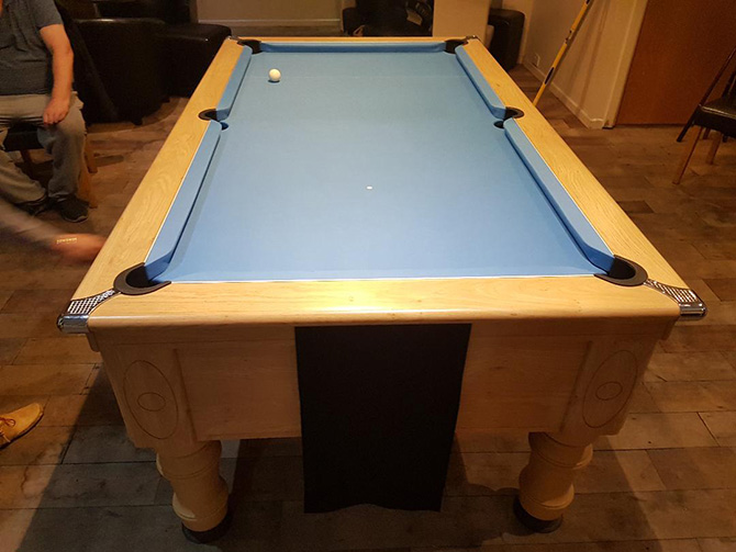 Pool Table Recovering with Powder Blue Cloth