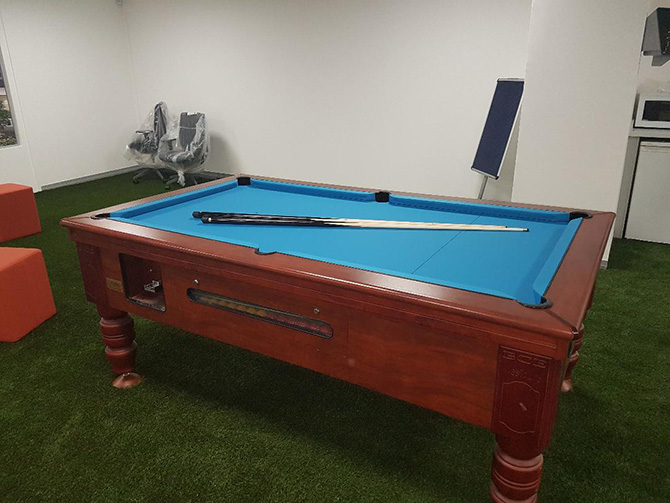 Recovering with Electric Blue Pool Table Cloth
