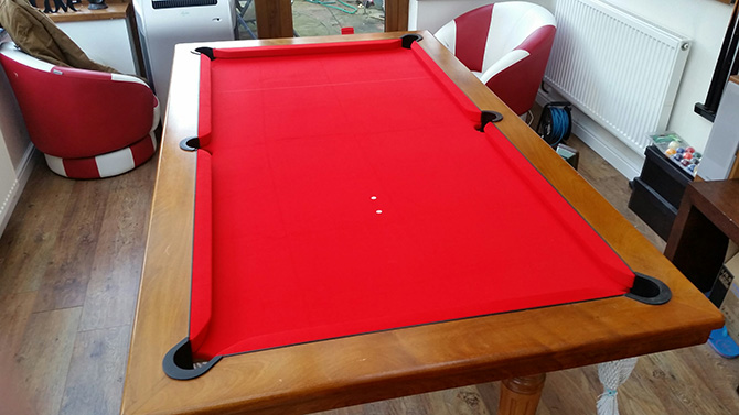 Red pool table cloth recover