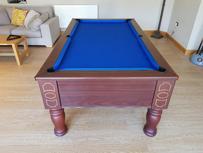 Royal blue pool table cloth supplied and fitted