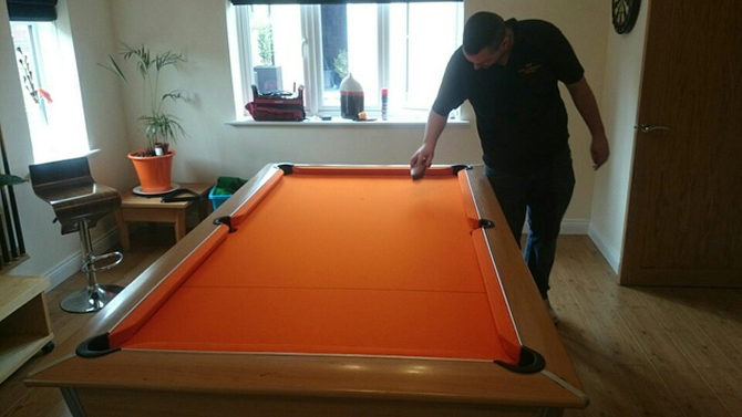 Orange pool table recover example South Wales
