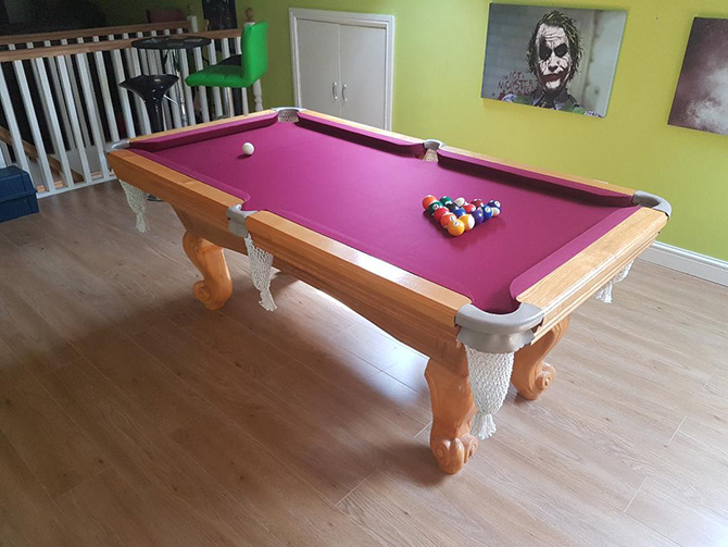 Burgundy speed cloth American pool table Clifton Bristol