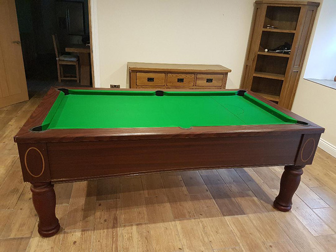 Green pool table cloth supplied fitted by Pool Table Recovers, Fishponds Bristol
