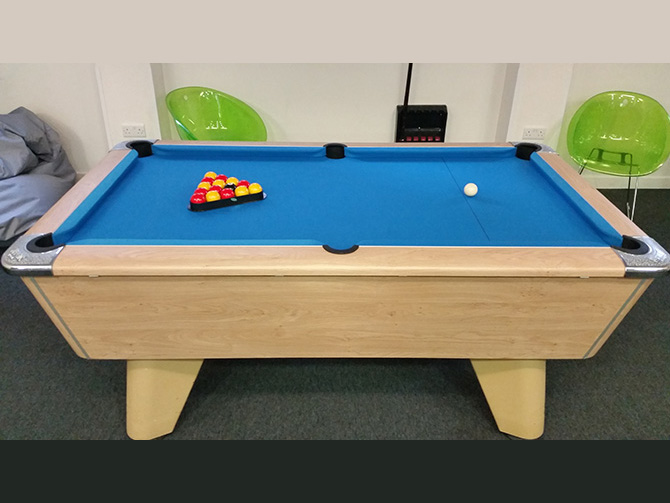 Winner pool table recovering service electric blue speed cloth South West Bristol